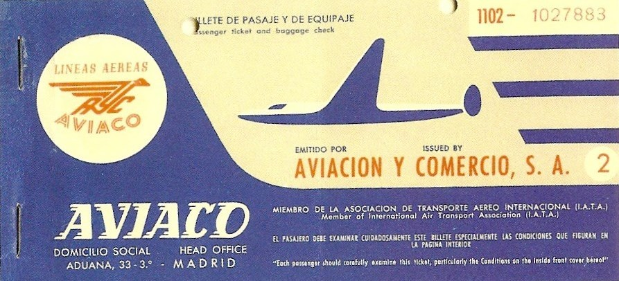 aerop. Billete de Aviaco. Años 50